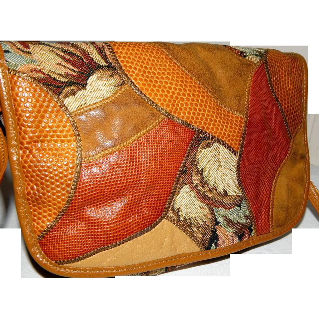 Vintage Carlos Falchi Reptile Tapestry Satchel