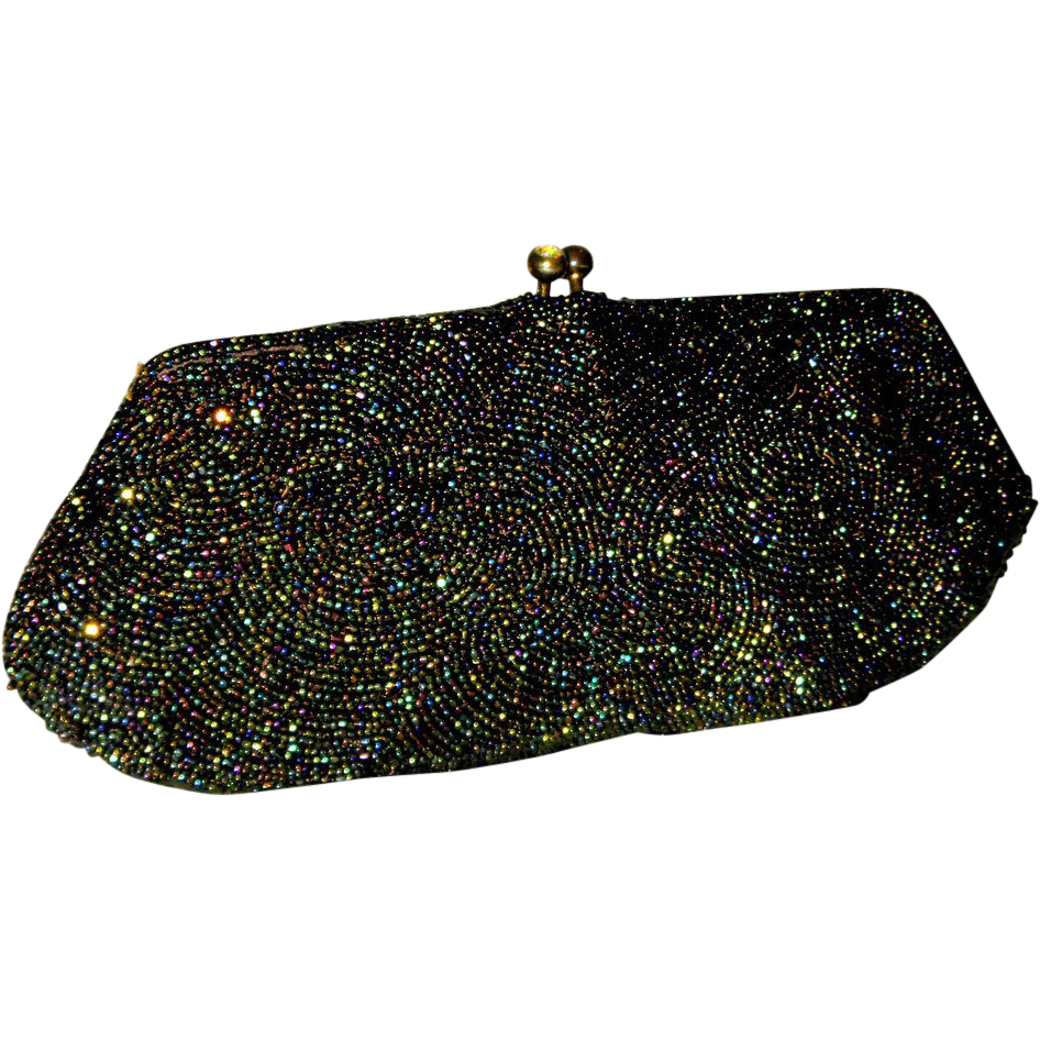 1930's Bag by Walborg Caviar Beaded Evening Clutch from Belgium