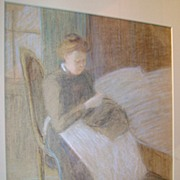 Lucy Hariot Booth Color Sketch of Woman Knitting