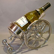 "Victorian-Style Silverplate ""Cannon"" Wine Caddy"