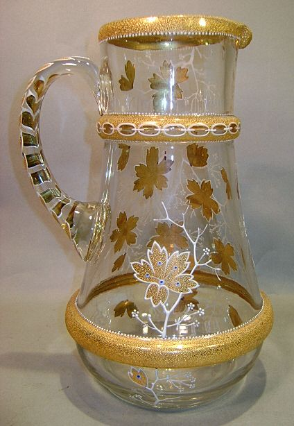 Moser Bohemian Glass Pitcher with Coralene Decoration