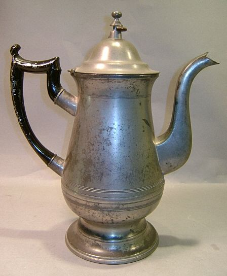 American Pewter Tea Or Coffee Pot By Roswell Gleason Ca