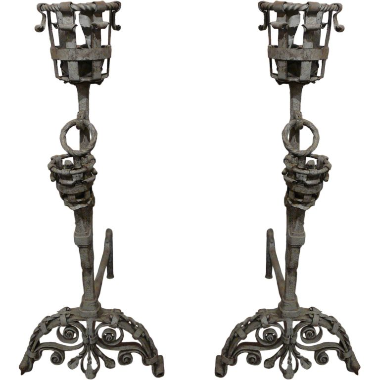 19th c. Large, Iron Andirons with Sandblasted Patina