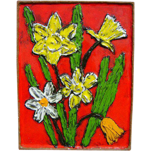 20th c. German Ceramic Plaque of Flowers