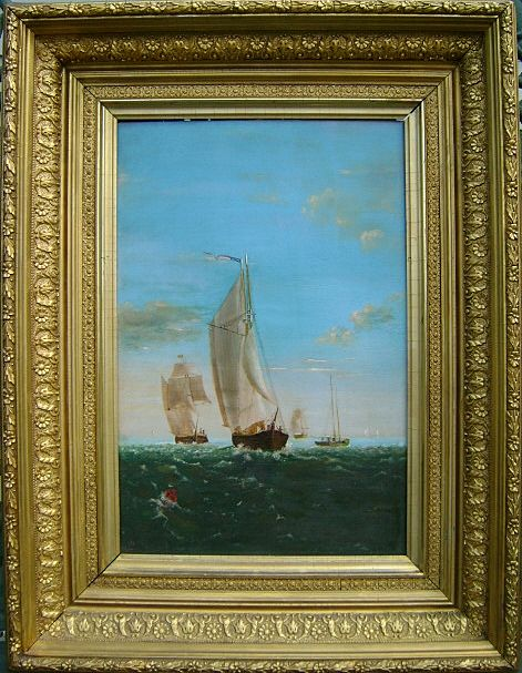 "Oil Painting ""Sailing Vessels"" signed JKB 1898"