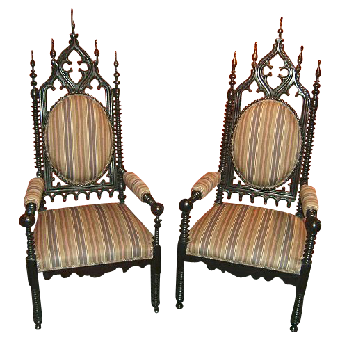 Pair of 19th c. Gothic Chairs