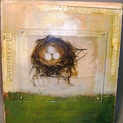 "Jessie Pollock Mixed Media ""Spring #2"" with Bird's Nest"