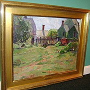 Helen Alton Sawyer Oil Painting Landscape with Houses