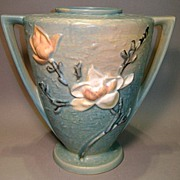"Roseville 9"" Magnolia Vase 94-9 Double-Handled Marked"