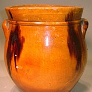 "19th c. Redware 8"" Storage Jar with Lug Handles"