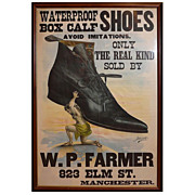 W.P. Farmer Manchester, NH Shoe Store Advertising Poster c. 1880