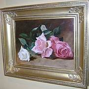 19th c. American School Oil Painting Still Life of Roses