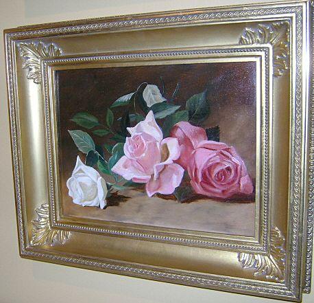 19th c. American School Oil Painting Still Life of Roses