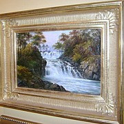 "George Willis Pryce Oil Painting ""Waterfall"" 19th c."