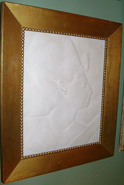 Egyptian Plaster Relief in Gilded Oak Frame