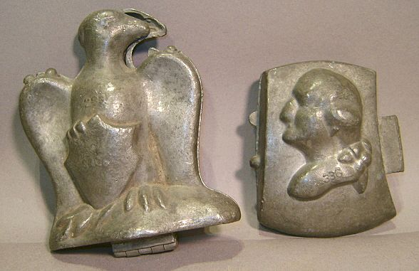 Vintage Pewter Ice Cream Molds - Geo. Washington & Eagle