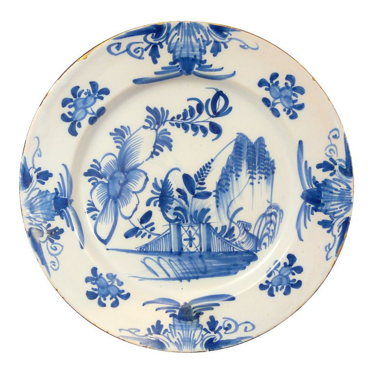 "18th c. Delft Pottery Plate/Charger 12.75"" Blue & White Floral"