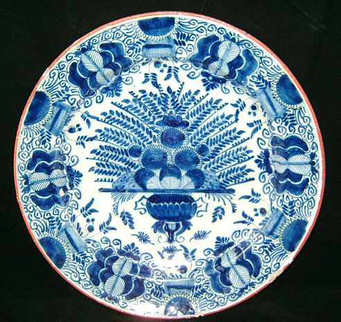 "18th c. Delft Pottery Plate/Charger 12"" Blue & White Peacock"