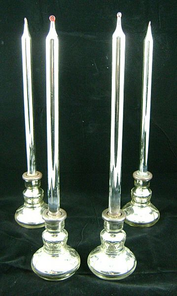 19th c. Mercury Glass Candlesticks & Candles - Set of 4