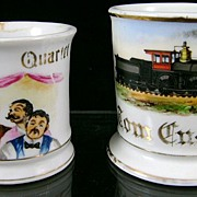 Pair of 19th c. Occupational Mugs ~ Railroad & Quartet