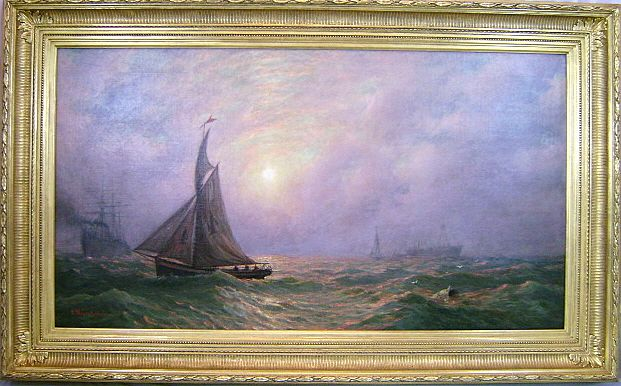 "James L. Weston Oil Painting Marine Scene ""Pilot Boat #4"""