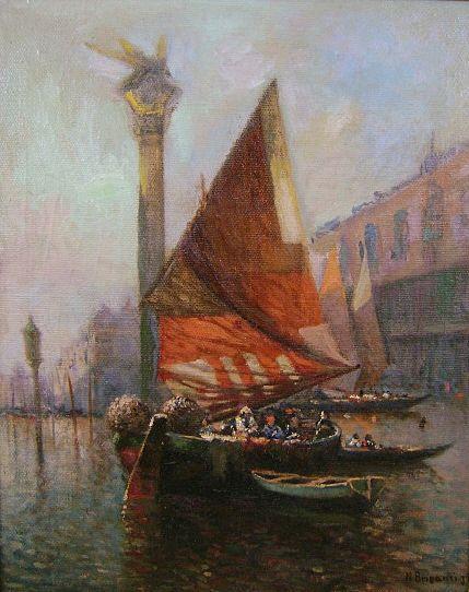 "Nicholas Briganti Oil Painting ""Sailboats, Doge's Palace"" Venice"