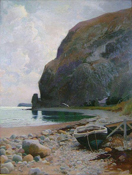 "Arthur Claude Strachan Oil Painting ""Beached Dories"" 1894"