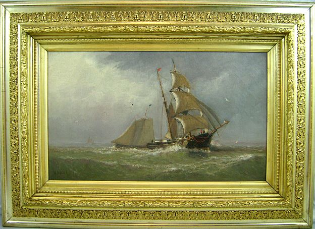 Marshall Johnson Jr. Marine Scene with Sailing Ships 1881