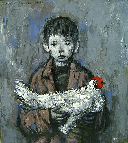 Xavier Bueno Oil Painting Portrait of a Boy with Chicken 1960
