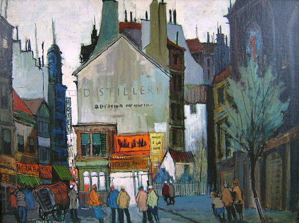 "Elmer P. Schwab Oil Painting City Scene ""Paris Sunset ..."