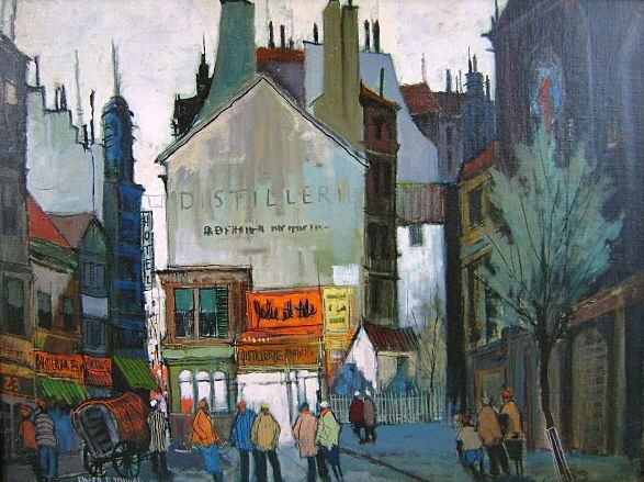 "Elmer P. Schwab Oil Painting City Scene ""Paris Sunset"" 1957"