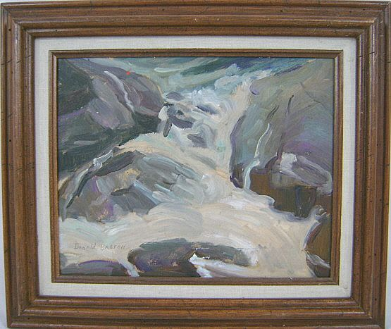 Donald Blagge Barton Oil Painting of Landscape with Waterfall