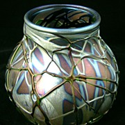 Charles Lotton Art Glass Iridescent Vase, signed 1990