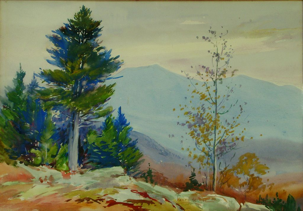 Henry Webster Rice Watercolor Painting of Mountainous Landscape