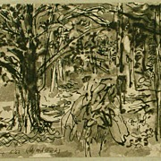 Nell Blair Walden Blaine Mixed Media Painting of Woods Near Woodstock
