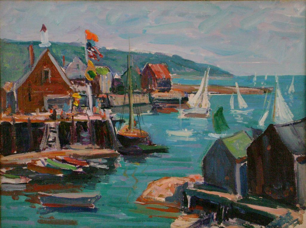 Clayton Roy Morse Oil Painting of a Harbor Scene