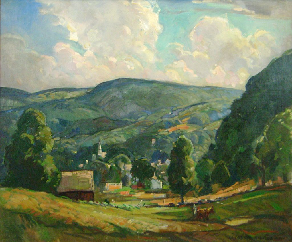William Lester Stevens Oil Painting of a Summer Afternoon Landscape