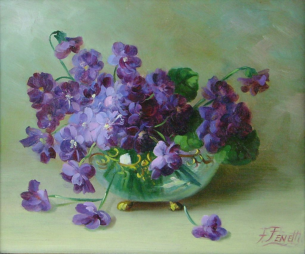 Frederick Fenetty Oil Painting Still Life Violets