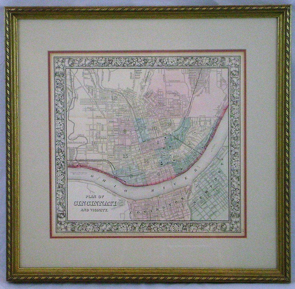 19th c Steel Engraved Hand-colored Map of Cincinnati, Ohio