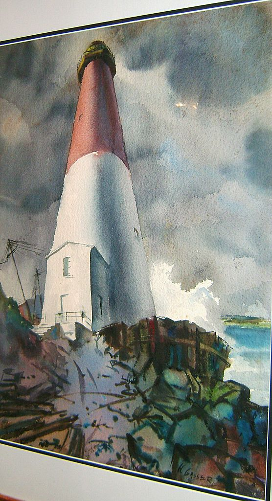 Henry Martin Gasser Watercolor Painting of Lighthouse Marine Scene