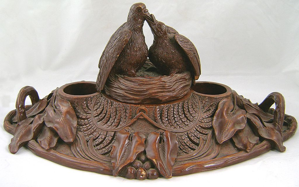 19th c. German Black Forest Hand Carved Wood Inkwell with Birds