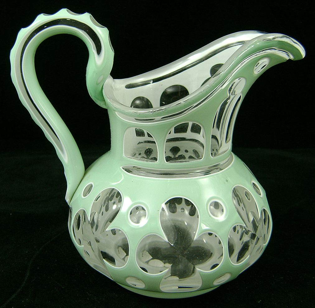 19th C 2 Color Cut Overlay Glass Pitcher