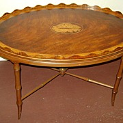 19th c. English Mahogany Tray Table with Shell Inlay