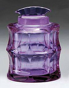 Moser Alexandrite Glass Covered Jar, signed