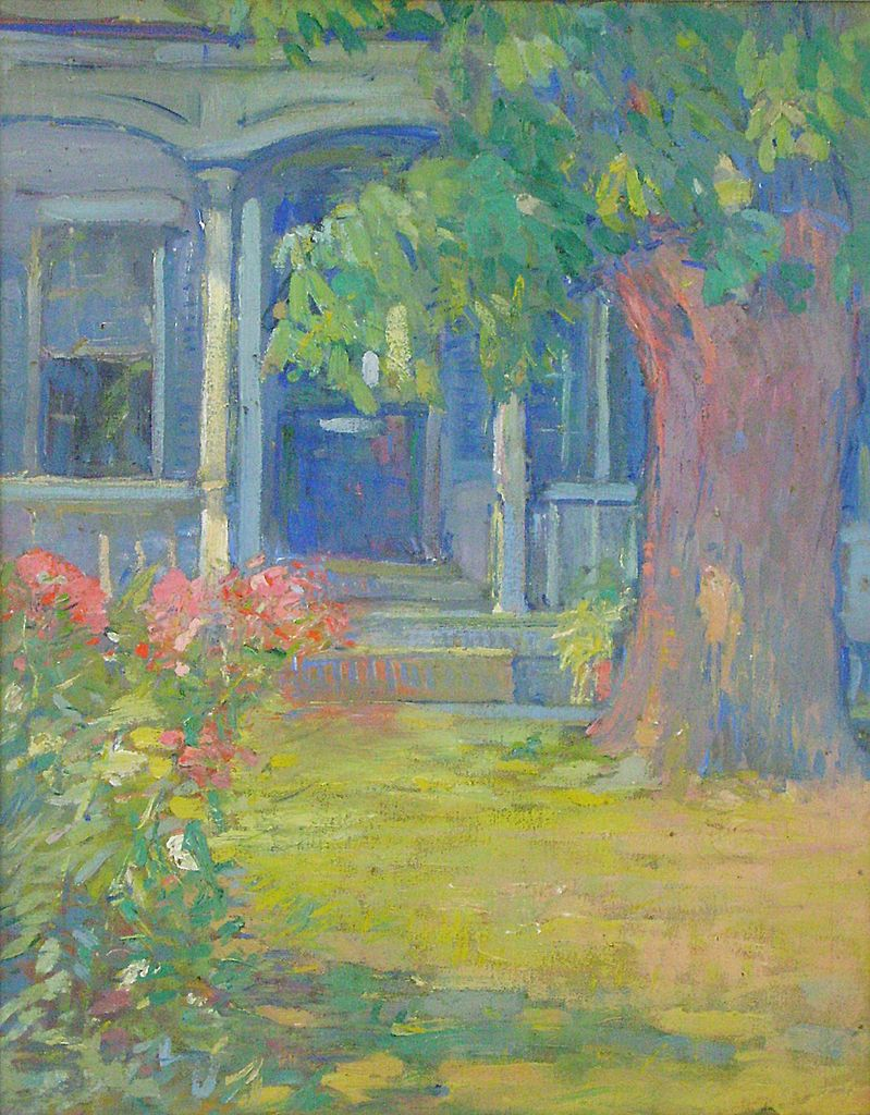 Clara D. Simpson Davidson Oil Painting of Flower Walkway