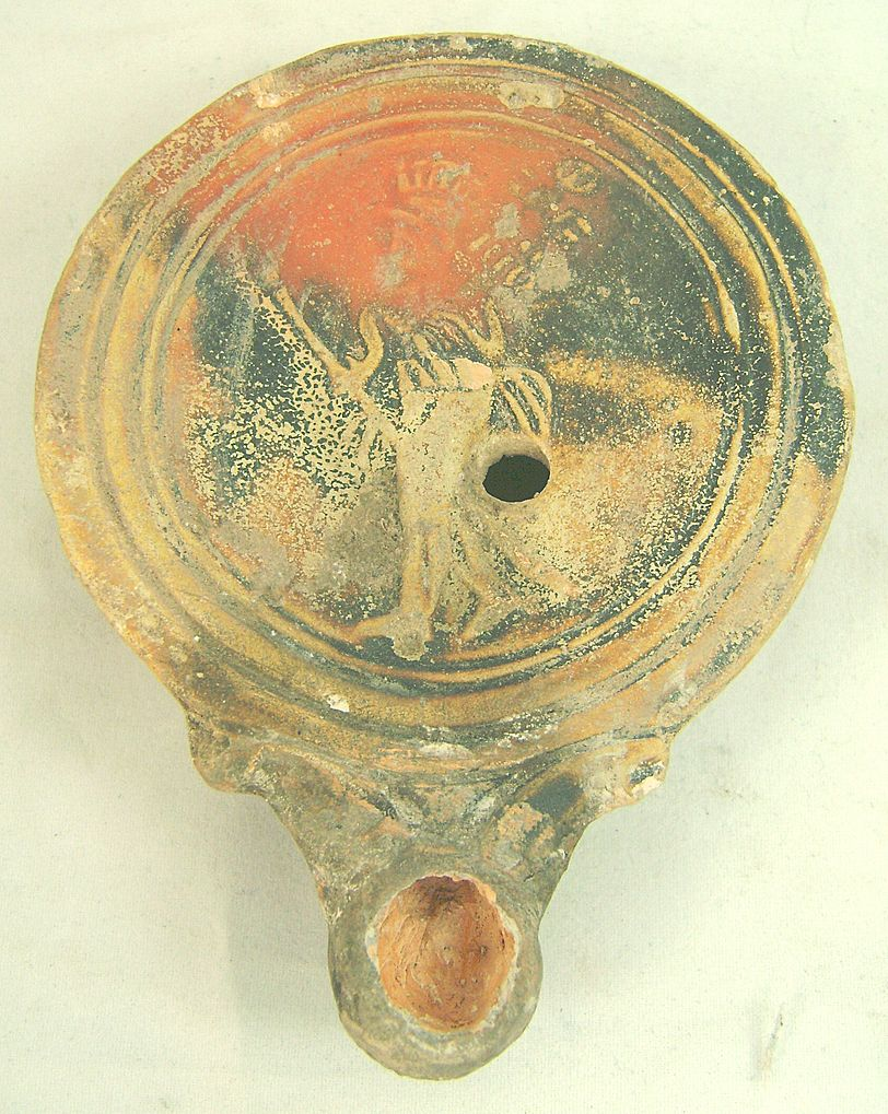 Roman Lamp with Legionary Soldier, circa 1st century AD