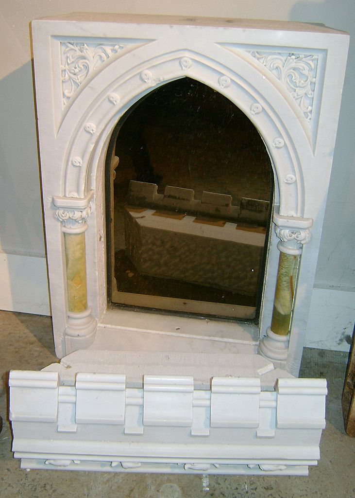 19th c. Marble & Onyx Tabernacle Mirror Architectural Church Element