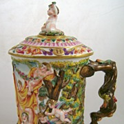 18th c. Capo di Monte Flagon with Lid & Festive Scene, Putti
