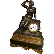 19th c. French Figural Bronze Clock