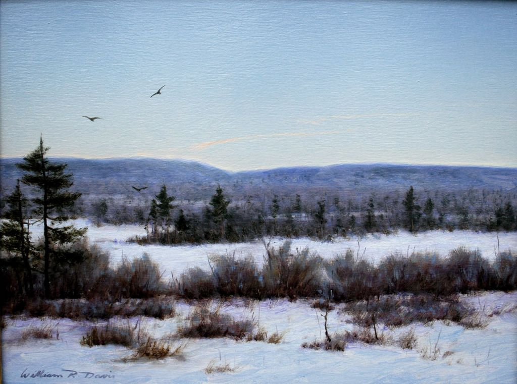"William R. Davis Oil Painting ""Frozen Marsh, Freedom, N.H."""